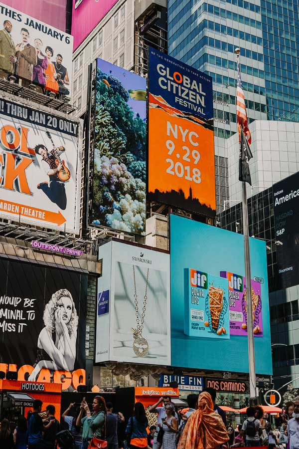 Graphic design is everywhere - billboards in Times Square